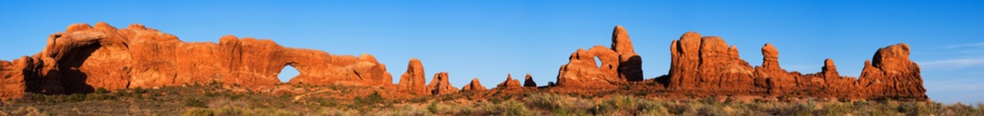 Super Wide Panorama of Arches National Park, from the North Window to Turret Arch