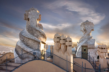 Barcelona, Spain. Casa Mila (La Pedrera) chimneys.
