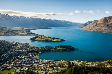 Widok Queenstown i Jeziorny Wakatipu, Nowa Zelandia
