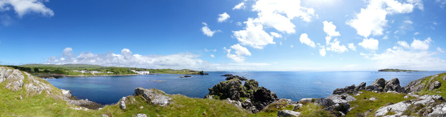 Lagavulin Bay panorama. View to Lagavulin distillery. Islay, Scotland, Great Britain