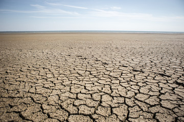 Dry cracked ground. The problem of drought
