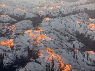aerial of sunrise in the italian Alps