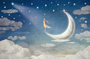 Girl on moon  admires  the night sky  - illustration art