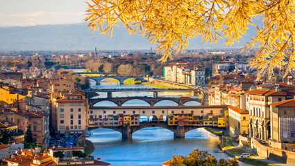 Sunset view of Ponte Vecchio, Florence.