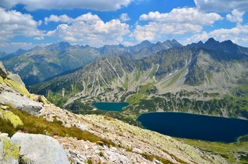 Summer mountain landscape. View of the Valley of Five Polish Ponds in High Tatra.