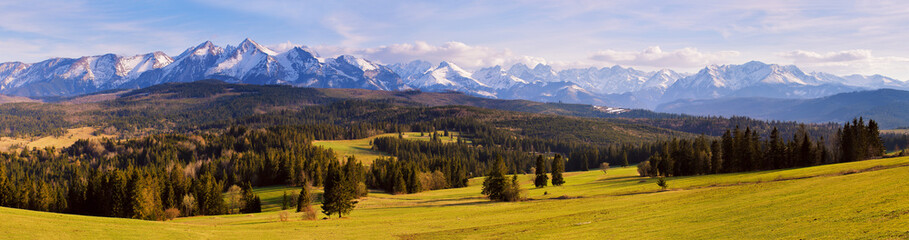 Panorama of snowy Tatra mountains in spring, south Poland