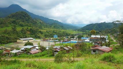 Cosanga, Napo / Ecuador - January 16 2016: Panoramic view of the town of Cosanga
