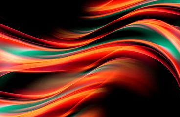 Hypnotize abstract background with red green lines and waves. Composition of shadows and lights