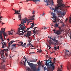 seamless abstract flowers,oil panting style