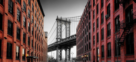 Manhattan Bridge from Washington Street, Brooklyn