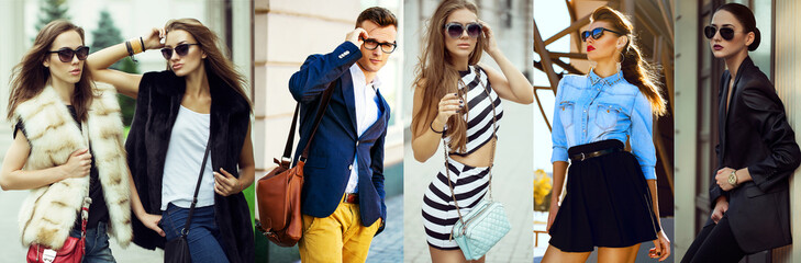 The concept  fashion beauty female and male. Collage of young women and men in glasses wearing in trendy clothes, with make up and accessories. Close up. street shot