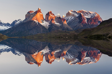 Majestic mountain landscape. Reflection of mountains in the lake. National Park Torres del Paine, Chile.