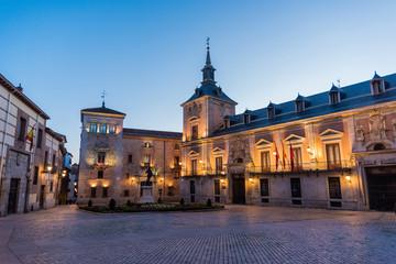 Evening at Plaza de la Villa in Madrid, Spain