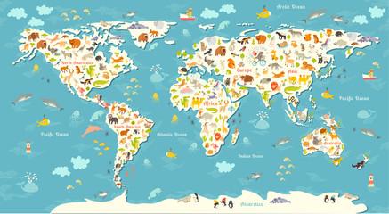 Mapa świata zwierząt. Piękna rozochocona kolorowa wektorowa ilustracja dla dzieci i dzieciaków. Z napisem oceanów i kontynentów. Przedszkole, dziecko, kontynenty, oceany, ciągnione, Ziemia