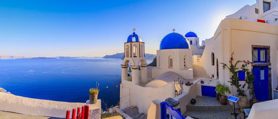 Santorini, Greece - Oia, sunrise, panorama