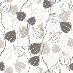 Seamless pattern with branches physalis.  Abstract floral background.