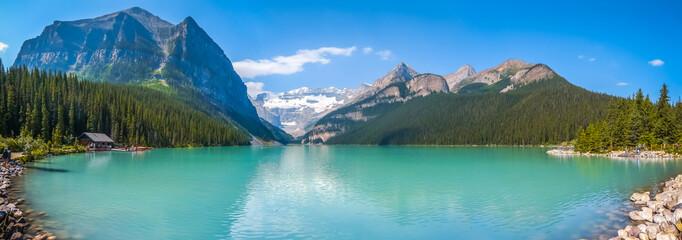 Lake Louise mountain lake panorama in Alberta, Canada
