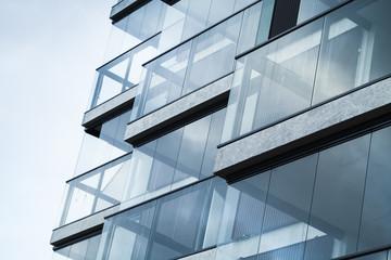 Streszczenie fragment nowoczesnej architektury, niebieski odcień