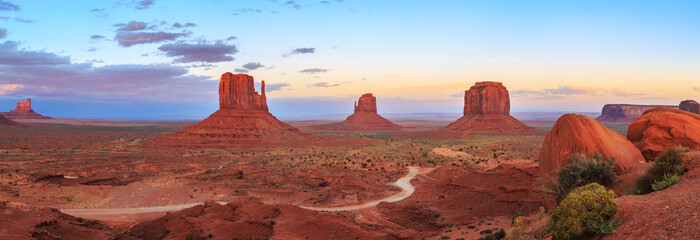 Sunset at Monument Valley Navajo Tribal Park in Arizona, Utah, USA