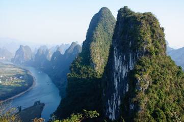 The beautiful mountains and river in Guilin, China
