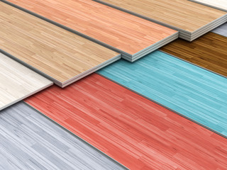 Multi colored parquet flooring boards