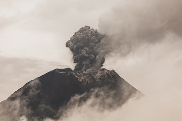 Tungurahua Volcano Telephoto Sunset Shot