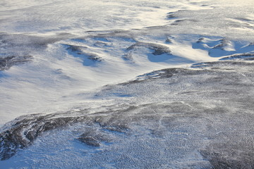 Tundra landscape in winter, aerial view