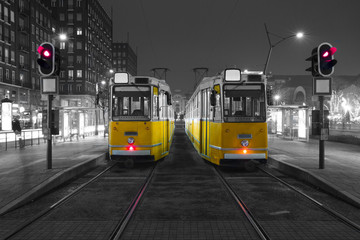 Old Tram in the city center of Budapest,