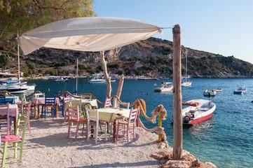 Cafe on the beach at Agios Nikolaos port, Zakynthos