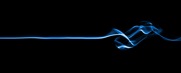 Blue line smoke, isolated on black background.