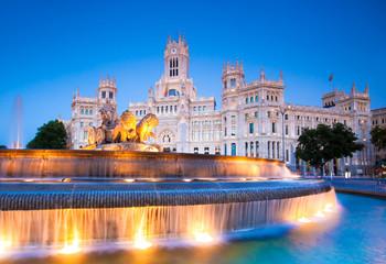 Plaza de la Cibeles, Cybele's Square - Central Post Office, Palacio de Comunicaciones, Madrid, Spain.
