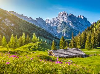 Tradycyjny górski domek w Alpach o zachodzie słońca