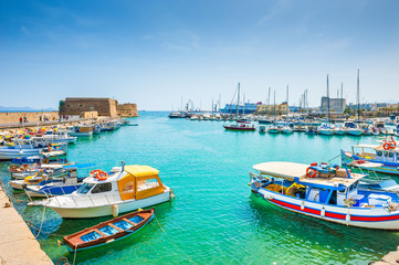 Old port with boats in Heraklion, Crete