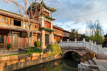 Scenic street , canal and buiding in the Old Town of Lijiang. Li