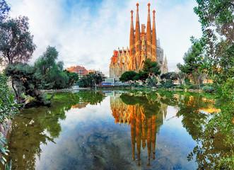 BARCELONA, HISZPANIA - 10 lutego: Widok Sagrada Familia, duży