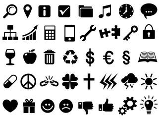 Icon-Set: 40 Business-Symbole / schwarz-weiß, Vektor, freigestellt