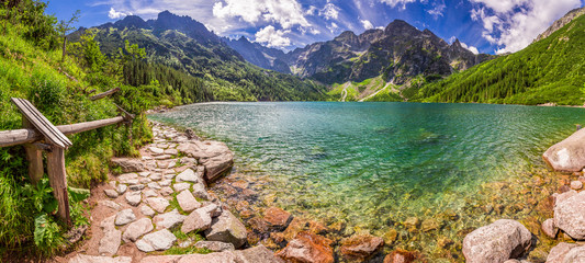 Panorama of pond in the Tatra mountains, Poland