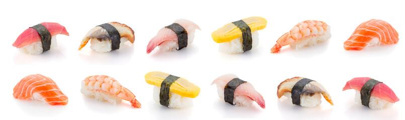 Set of sushi nigiri isolated on white background