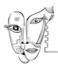 Hand drawing faces in cubism style. Abstract surreal vector template can use for posters cards, stickers, illustrations, t-shirt art, as decorative element.