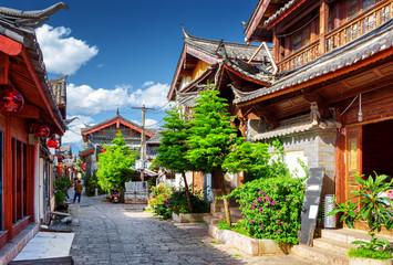 Scenic street in the Old Town of Lijiang, Yunnan province, China