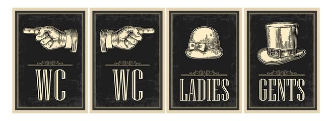 Toilet retro vintage grunge poster. Ladies, Cents, Pointing finger.  Vector vintage engraved illustration on a black background.  For bars, restaurants, cafes, pubs
