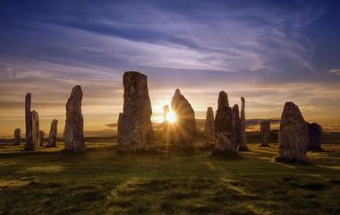 Callanish kamienie przy zmierzchem, Szkocja