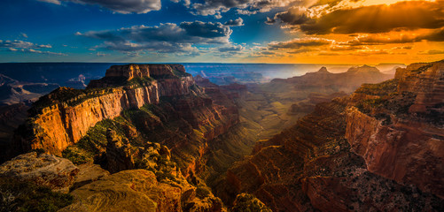 Grand Canyon North Rim Cape Royal Overlook at Sunset Wotans Thro