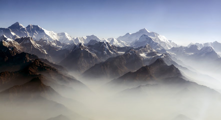 Everest Peak and Himalaya Everest mountain range panorama - Himalayas mountains Everest range panorama aerial view, Nepal..