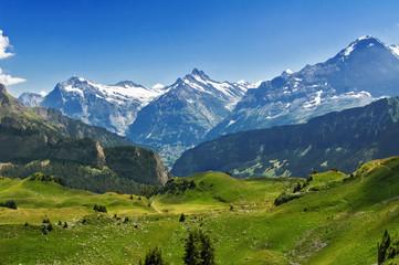 Piękny idylliczny krajobraz Alp z górami w lecie, Szwajcaria