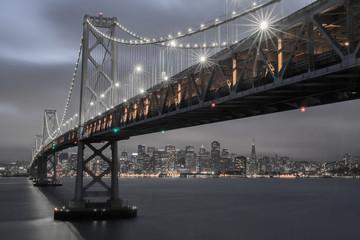 Dusk over Oakland-San Francisco Bay Bridge and San Francisco Skyline, California