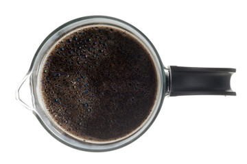 top view of a mug of black coffee.