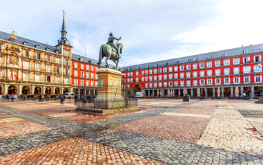 Plaza Mayor with statue of King Philips III in Madrid, Spain.