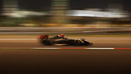 Race car racing at high speed