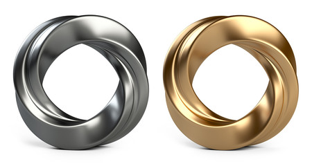 Metallic and golden twisted rings Isolated on white background
